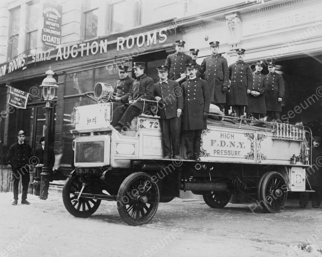 Men Pose on Fire Engine 72 NYFD 1910s 8x10 Reprint of Old Photo | eBay