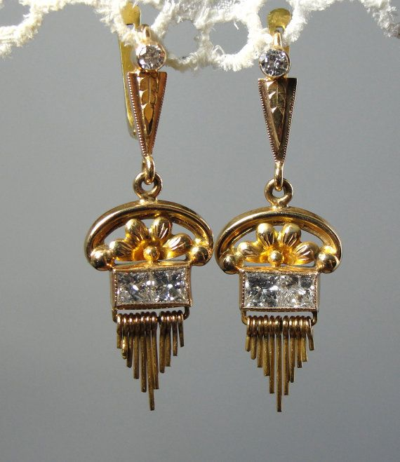 800 Gold and Princess Diamond Earrings from Portugal ERDI149N on Etsy, $5,465.00