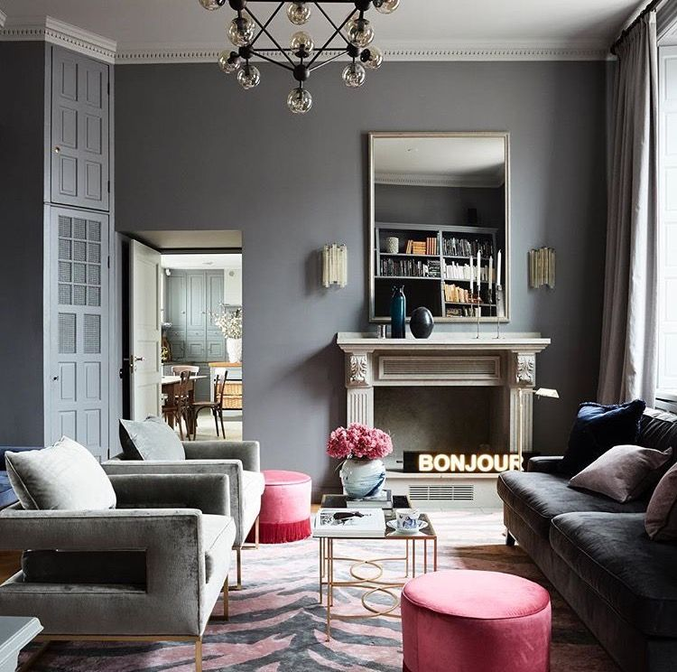 gray and pink living roomlayered official  pink