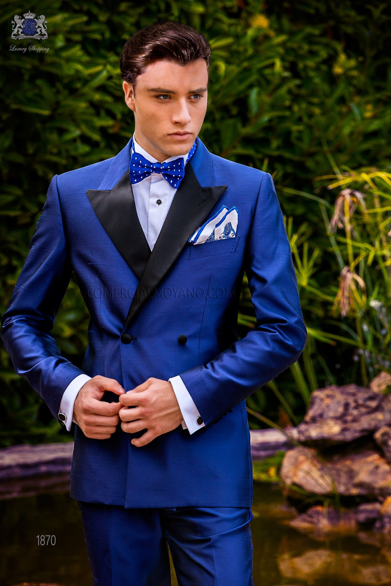 Italian Double Breasted Royal Blue Tuxedo With Satin Peak Lapels And 4 Covered Buttons Shantung Silk Mix Fabric Tuxedo Tuxedo For Men Blue Tuxedos Black Tie