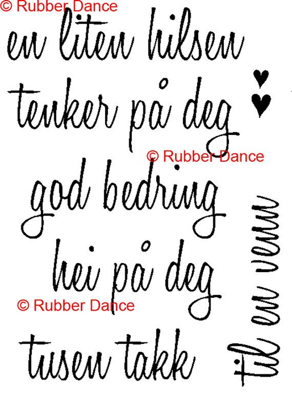 Text Stamps Norwegian greeetings small set of by RubberDance