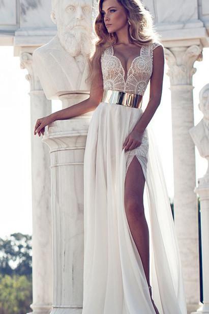 Sexy V-neck Side Slit Wedding Party Dresses,Cap Sleeves Prom Dresses ...