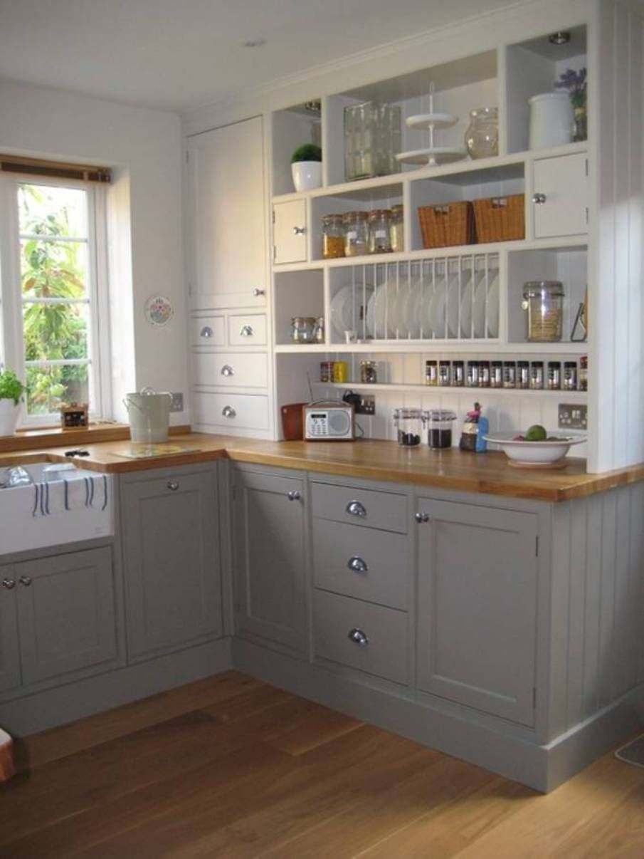 Engaging white brown wood glass stainless modern design for Small kitchens with white cabinets