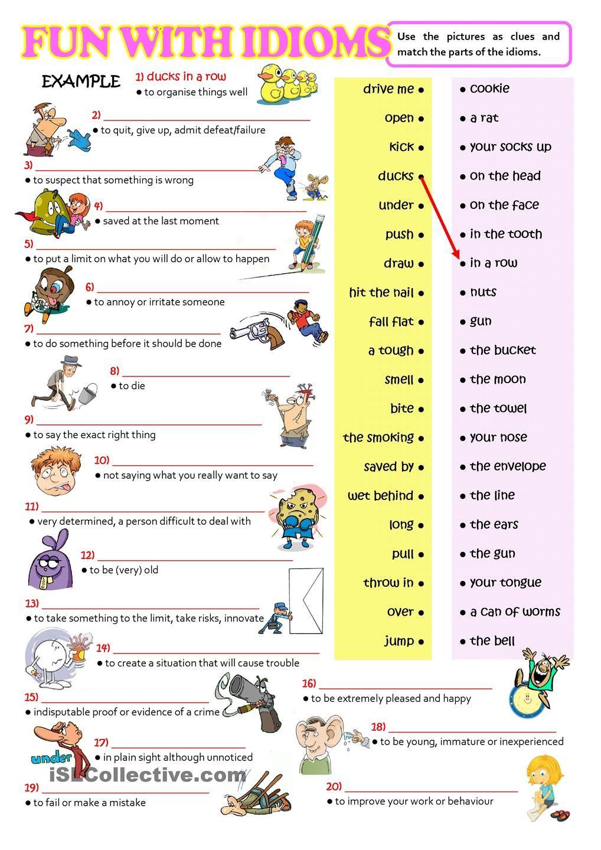 FUN WITH IDIOMS English idioms, Idioms, English lessons