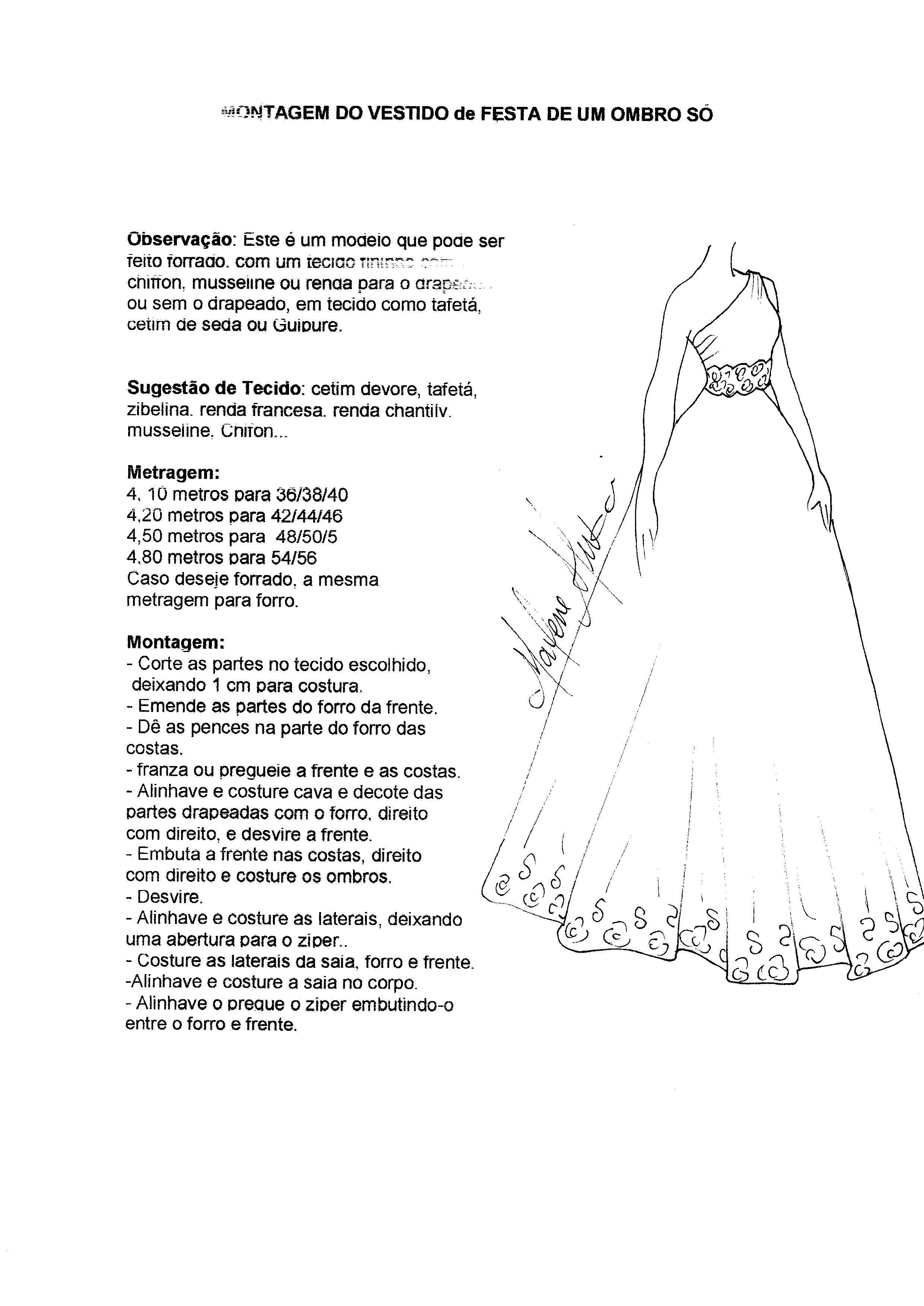 Patrón Vestido de coctel con un solo hombro | patrones mujer ...