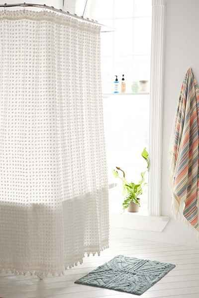 Love The Texture On This White Shower Curtain!