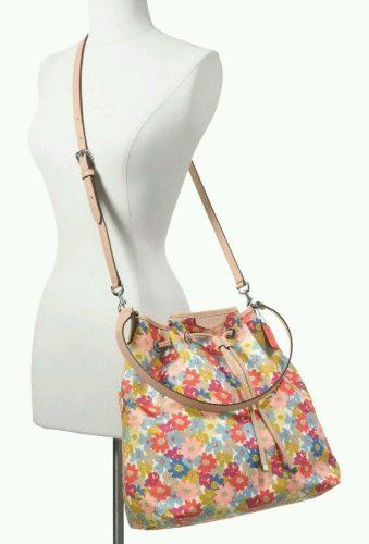 Coach Handbag Signature Stripe Floral Print Drawstring Shoulder