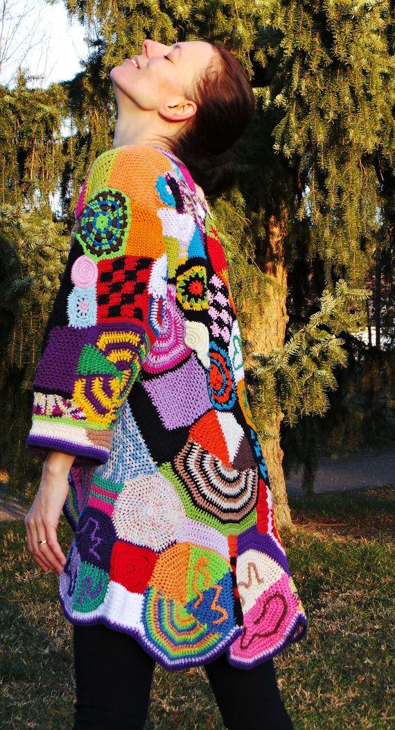 Original Crochet Freeform Coat Patchwork Hippie Vest Jacket Hippie