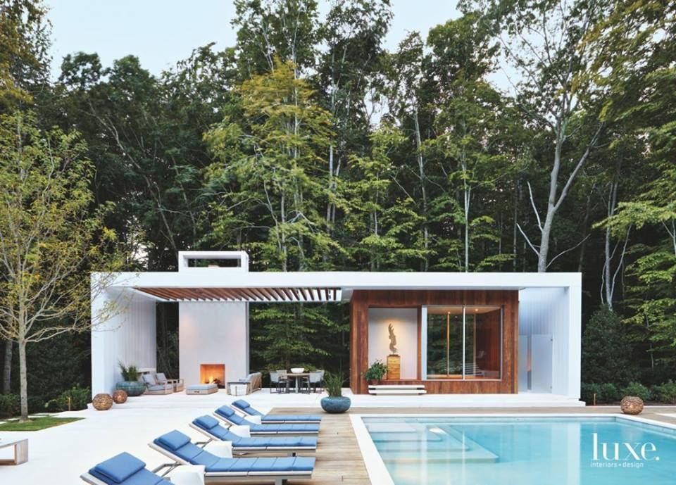 Moderne poolhouse in hout en crépi Bogarden House Pinterest