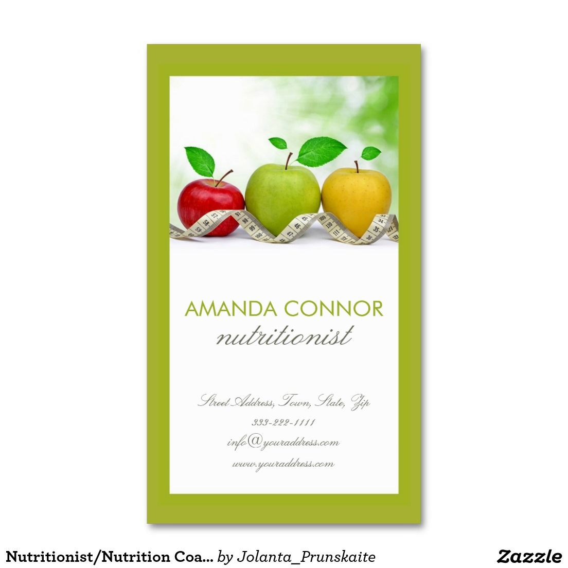 0e0b8aa8655 Nutritionist Nutrition Coach Apple Fruit Card Double-Sided Standard Business  Cards (Pack Of 100)