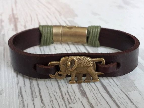 Spiritual Elephant Bracelet Mens Womens Leather Jewelry Good Luck Strength Cuff Boho Style