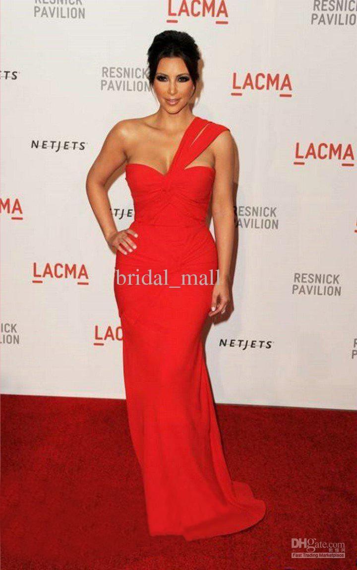 Wholesale one shoulder chiffon red celebrity evening dress of kim