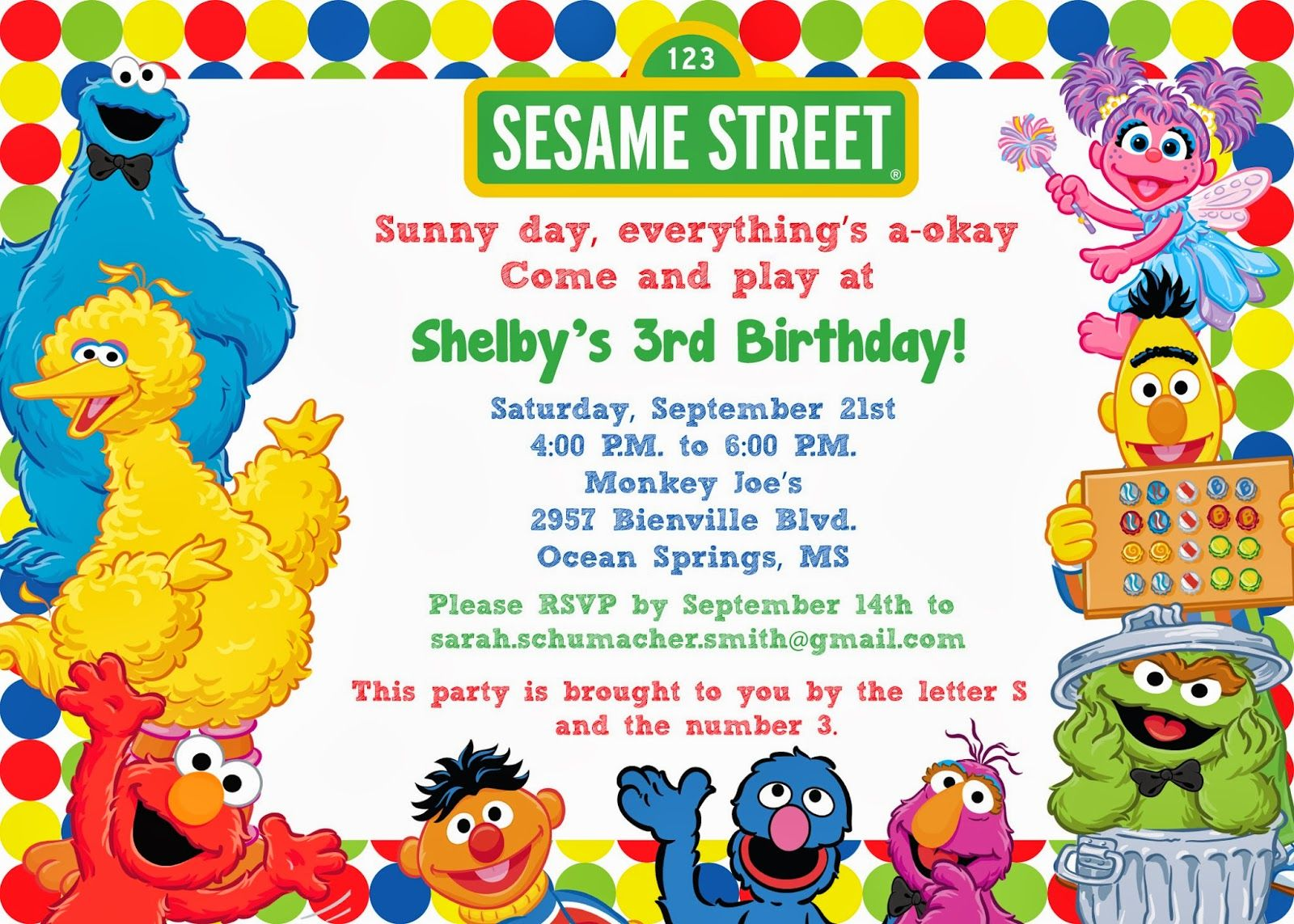 sesame+street+invitations | Sesame Street Birthday Invitation ...