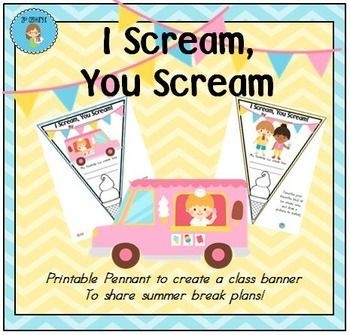 i scream you scream we all scream for ice cream free pennant worksheet to create a class. Black Bedroom Furniture Sets. Home Design Ideas