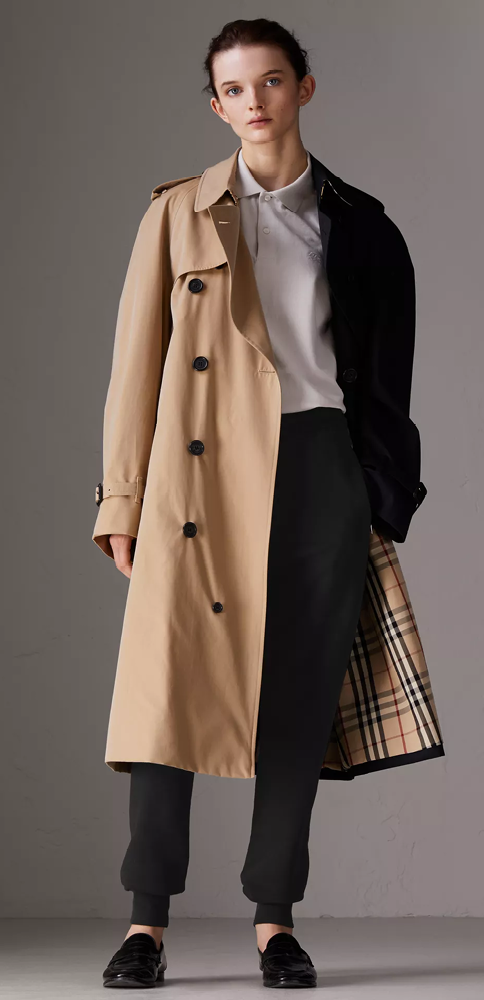 6f2dcb46a8c A two-tone oversized trench coat created with  GoshaRubchinskiy. The  outerwear icon is reinterpreted at the Burberry factory in Castleford from  ...