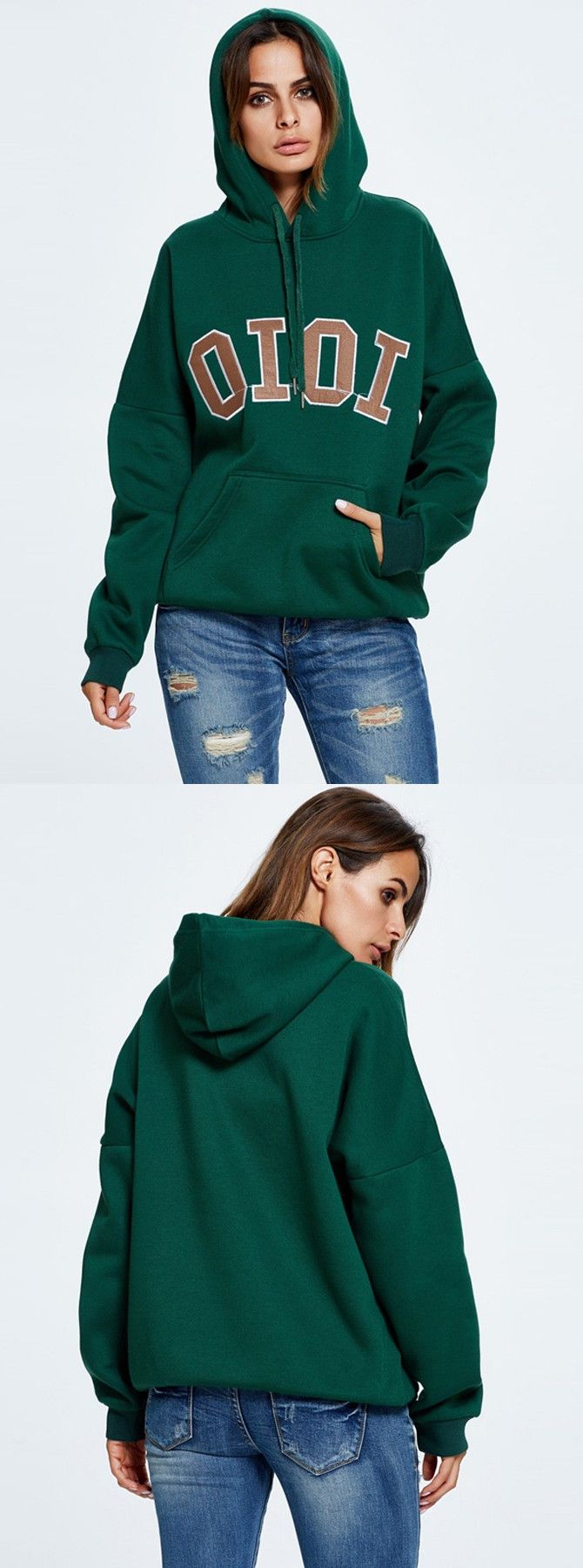 Hooded dark green letter print cotton pullover sweatshirt see more