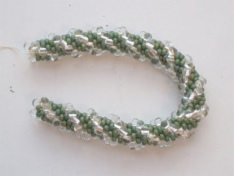 Bead crochet rope with seed beads and drops by Miyuki - Beaded crochet rope   Beadworks