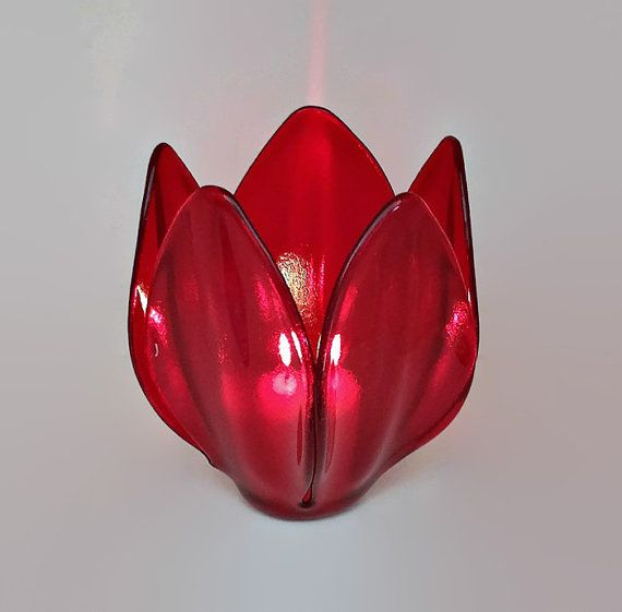 Tulip Candle Holder in Cherry Red  Centerpiece  by SeaLambGlass
