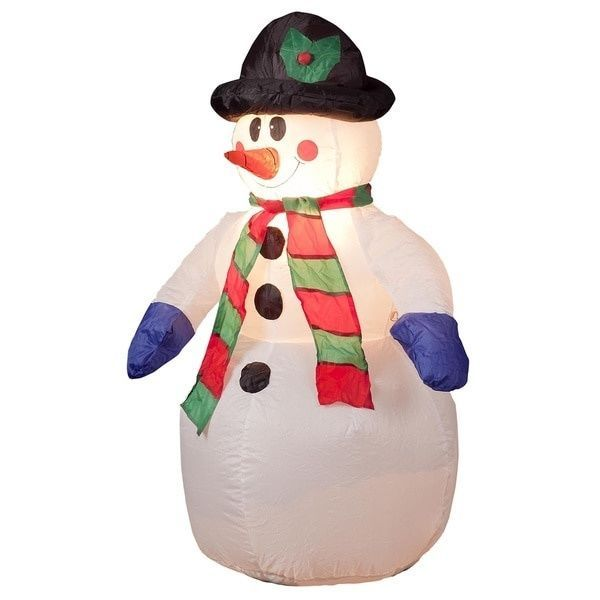 Inflatable 4 Foot Snowman Illuminated Festive Holiday Outdoor - outdoor snowman christmas decorations