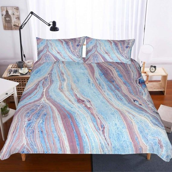 Photo of Stone Pattern Duvet Cover, Simple Bedding Sets with Pillowcases in Single Twin Double Full Queen King Size