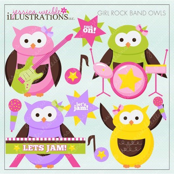 owel with giutar | Girl Rock Band Owls- JW Illustrations ...