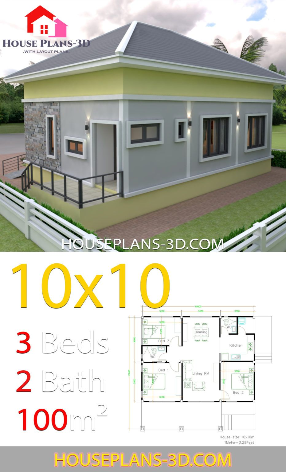10x10 Room Layout: House Design 10x10 With 3 Bedrooms Hip Roof