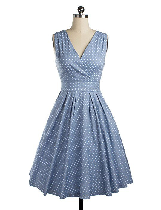 VKStar® Vintage Damen klassisch V-Ausschnitt 1950s Hepburn ...