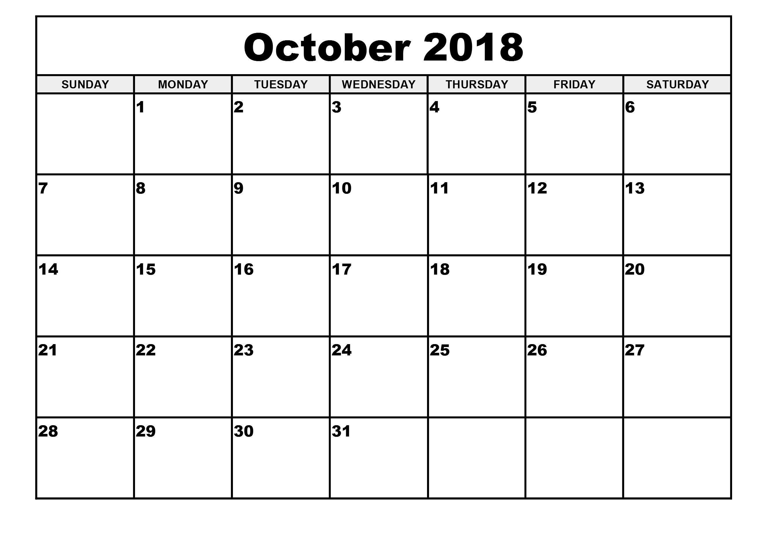 October 2018 Editable Calendar Workout Pinterest Calendar