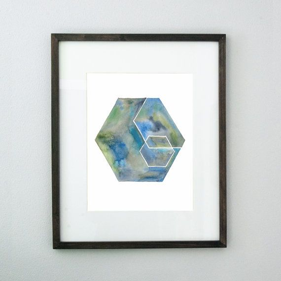 Hey, I found this really awesome Etsy listing at https://www.etsy.com/listing/233120917/layered-hexagons-10x14-original
