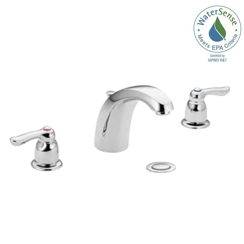 Moen Chateau 8 In Widespread 2 Handle Low Arc Bathroom Faucet With Drain Assembly In Chrome 4945 The Home Depot Low Arc Bathroom Faucet Bathroom Faucets Faucet Handles [ 1000 x 1000 Pixel ]