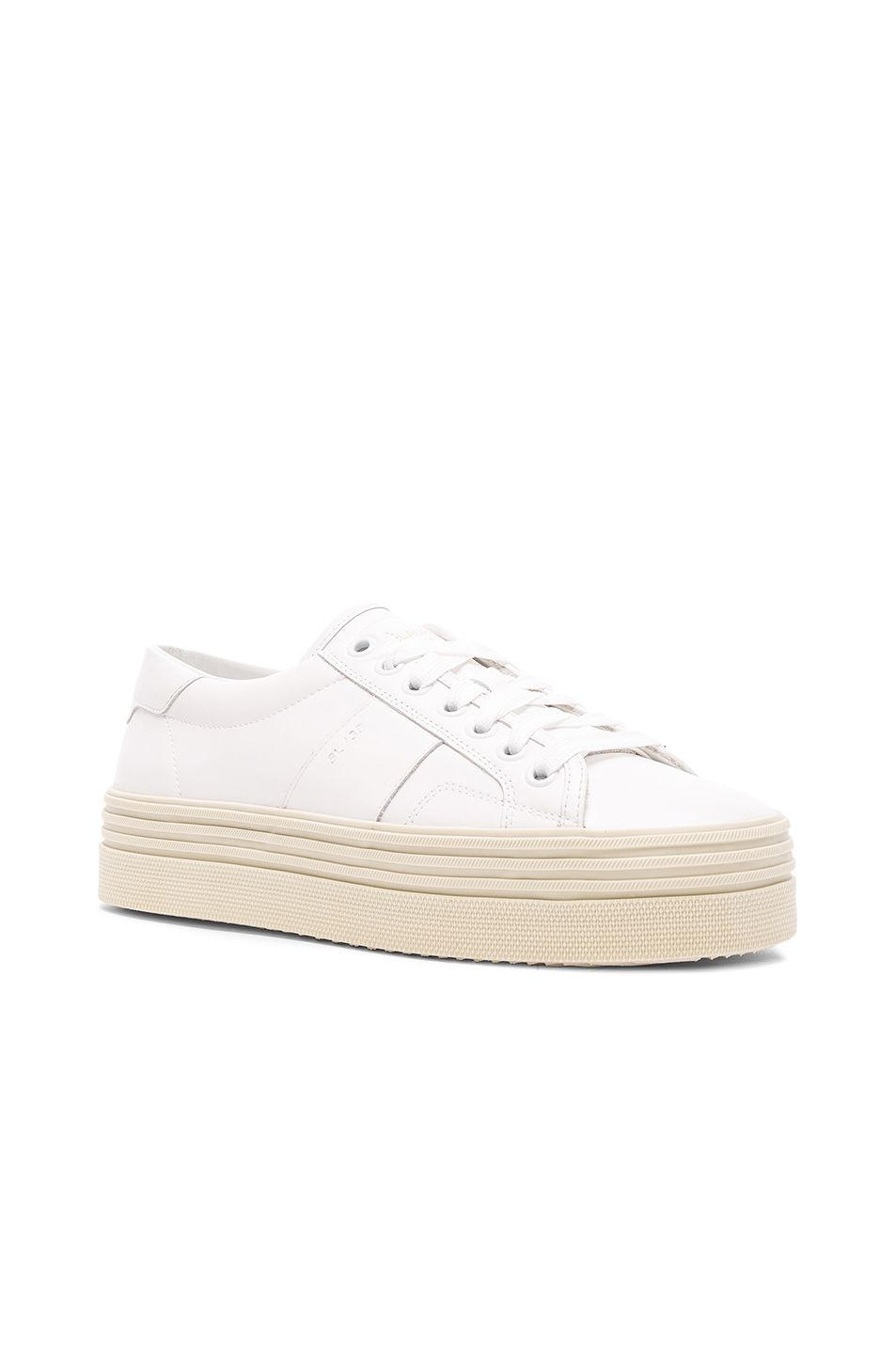 e9c05460981 Saint Laurent Leather Court Classic Platform Sneakers in Off White ...