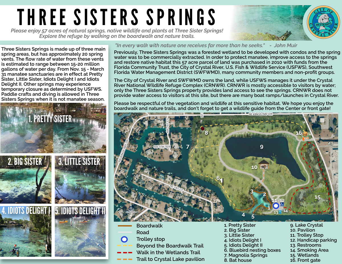 Three Sisters Springs Florida Map.Three Sisters Springs Crystal River Florida On A Tank Full In