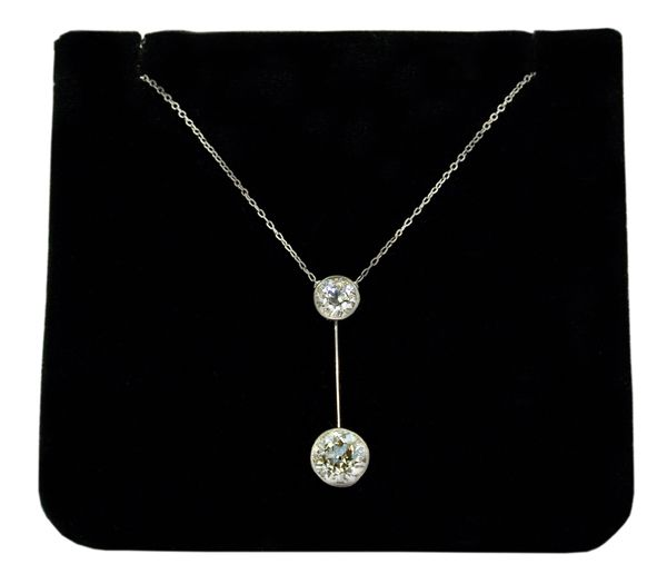 Edwardian platinum and diamond drop pendant, c1910 -20. Offered by John Joseph at Grays