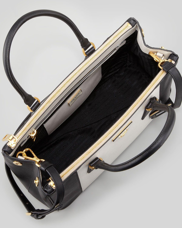 1a8be157a569 Prada Bicolor Saffiano Doublezip Tote Bag in Black (black white ...
