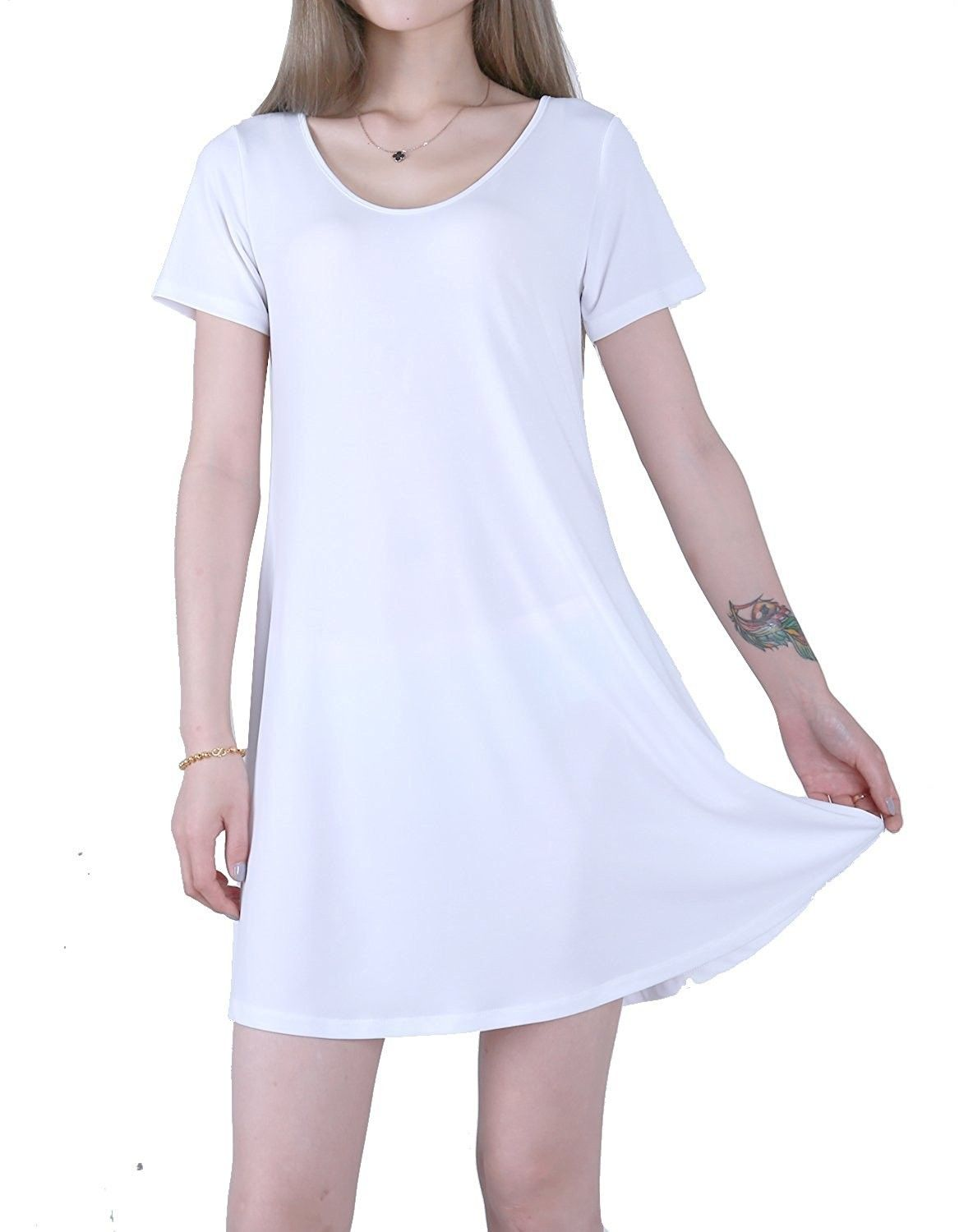 Womenus short sleeve comfy flowy long tunic loose fit t shirt
