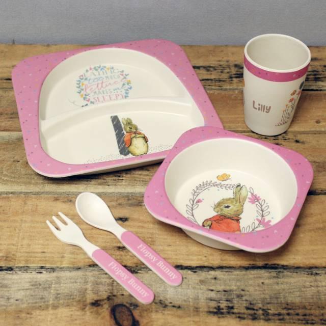 Flopsy Bamboo Breakfast Set Personalised Dining Sets For Children In 2020 Bamboo Tableware Tableware Set Kids Dinner Sets