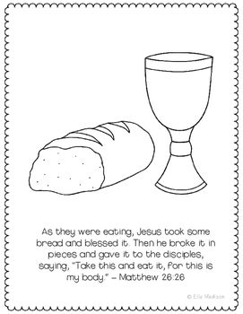 Last Supper Easter Bible Verse Coloring Page