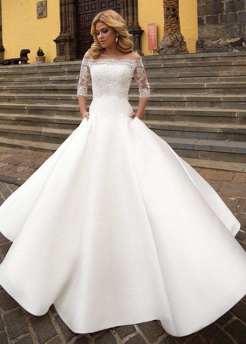 Wedding Dress Lace, Modest Satin Offtheshoulder Neckline