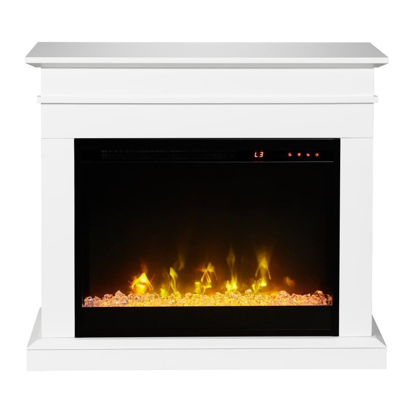 C3 C3p23c9 2067w White Jasmine 31 Inch Wide 4777 Btu 1400w Free Standing Vent Free Electric Mantel Fireplace With Casters For Effortless Mobility Electric Fireplace Wall Mount Electric Fireplace Fireplace