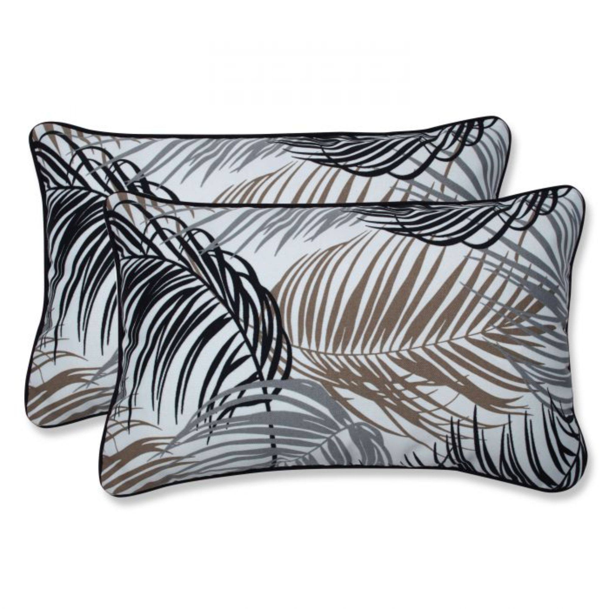 Set Of 2 White And Black Tropical Outdoor Patio Rectangular Throw Pillows 18 5 Throw Pillows Throw Pillow Sets Perfect Pillow