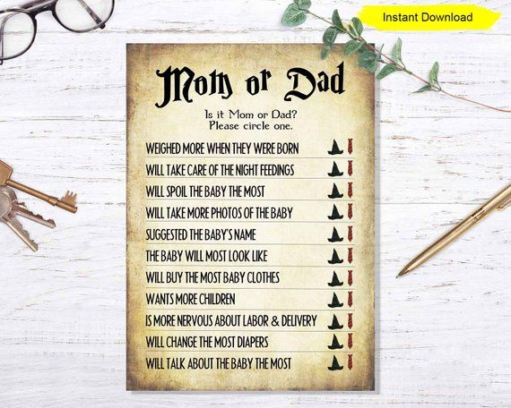 Mom or Dad Baby Shower Game – INSTANT DOWNLOAD – couples party sprinkle party printable digital wizard