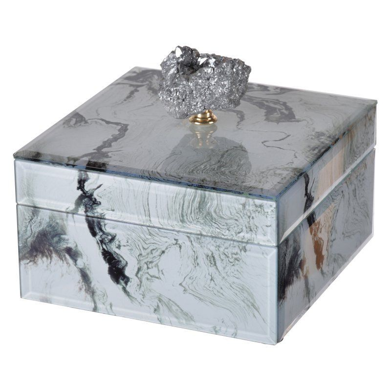 A and B Home Marbled Jewelry Case White - 41380