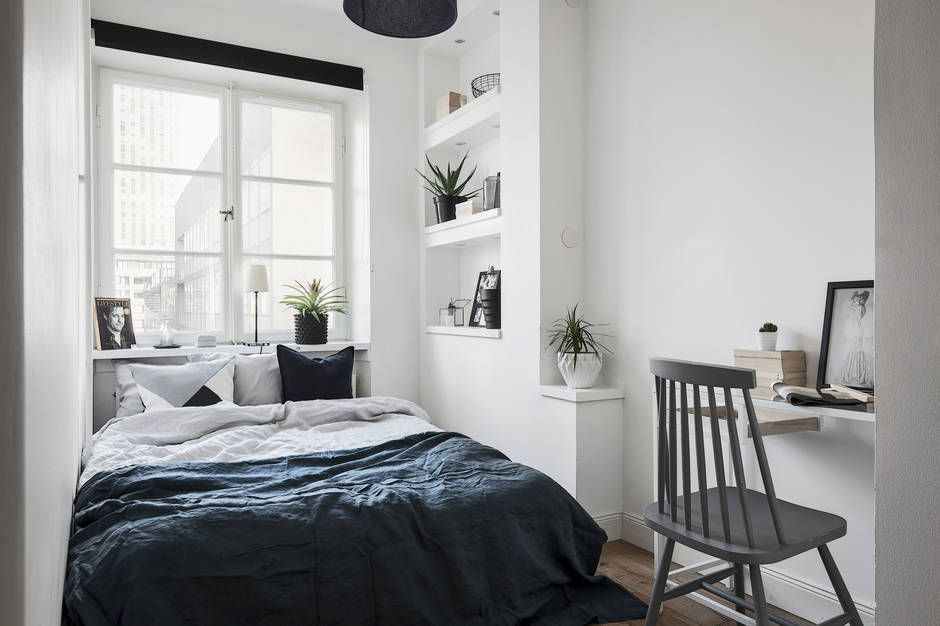 even a tiny bedroom can have a workspace compact living pinterest. Black Bedroom Furniture Sets. Home Design Ideas