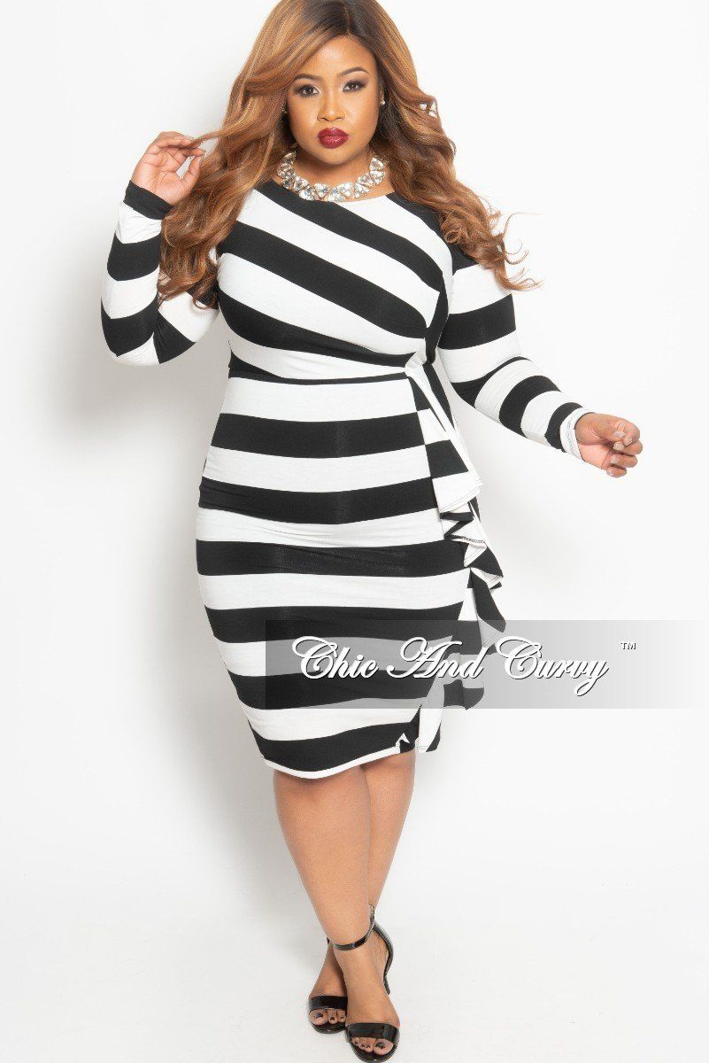 Final Sale Plus Size Long Sleeve BodyCon Dress with Side Ruffle in ...