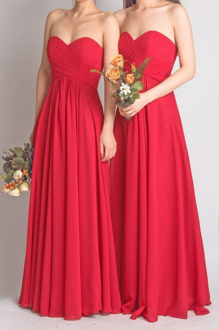 Long sweetheart fame red bridesmaid dresses for wedding