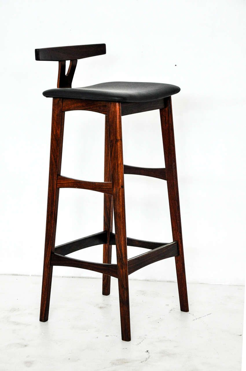 Rosewood And Leather Bar Stools Denmark 1960s Bar