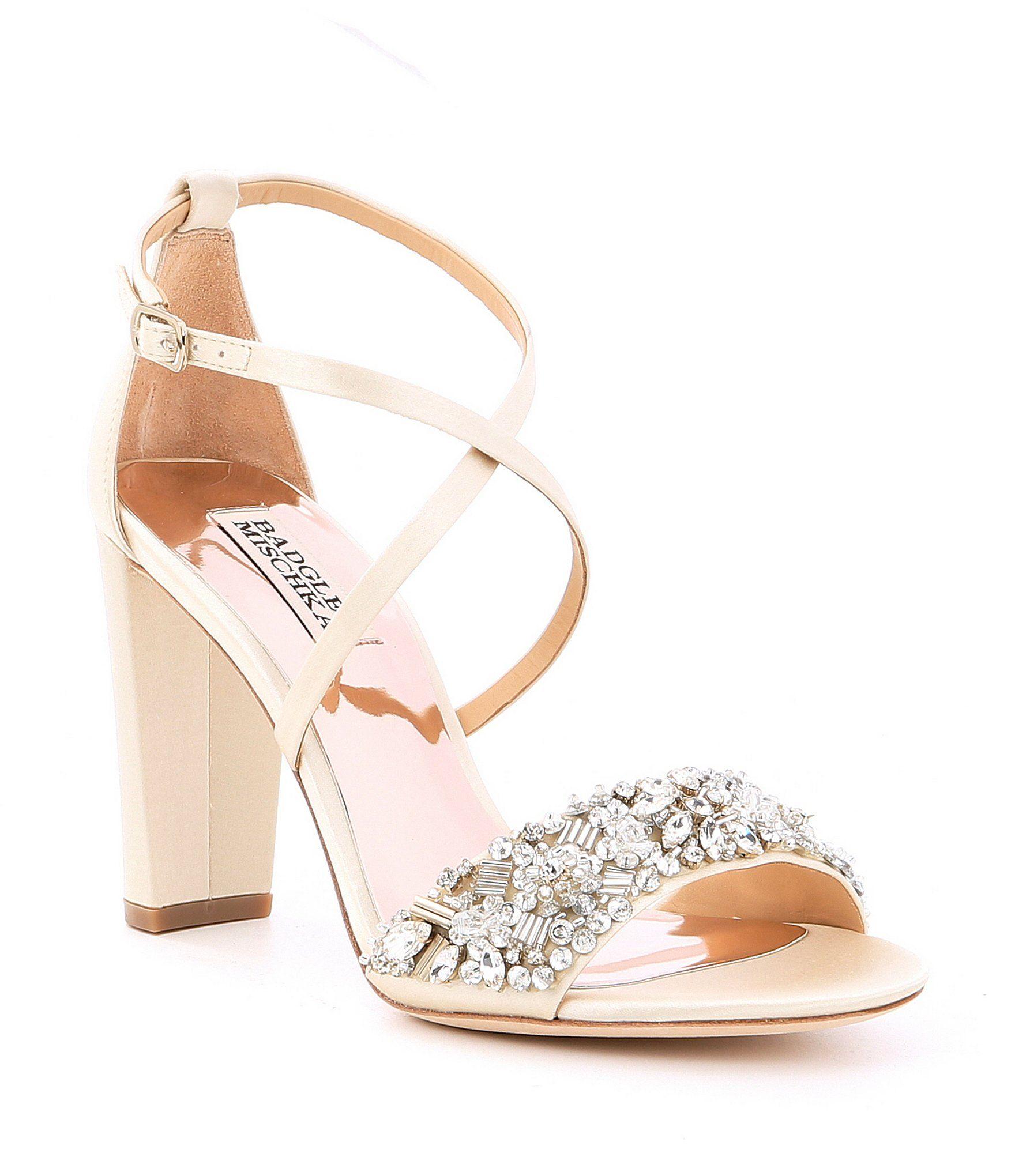 318fa7e4af Shop for Badgley Mischka Sandra Satin Jeweled Strappy Block Heel Dress  Sandals at Dillards.com. Visit Dillards.com to find clothing, accessories,  shoes, ...