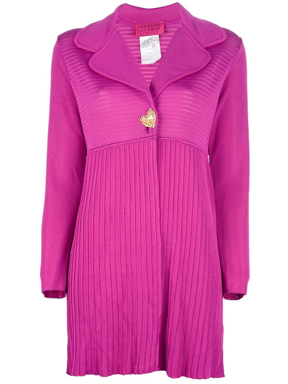 Pink ribbed cardigan from Christian Lacroix featuring a large notched lapel, a gold-tone heart button fastening and long straight sleeves with button fastening cuffs. Excellent condition.