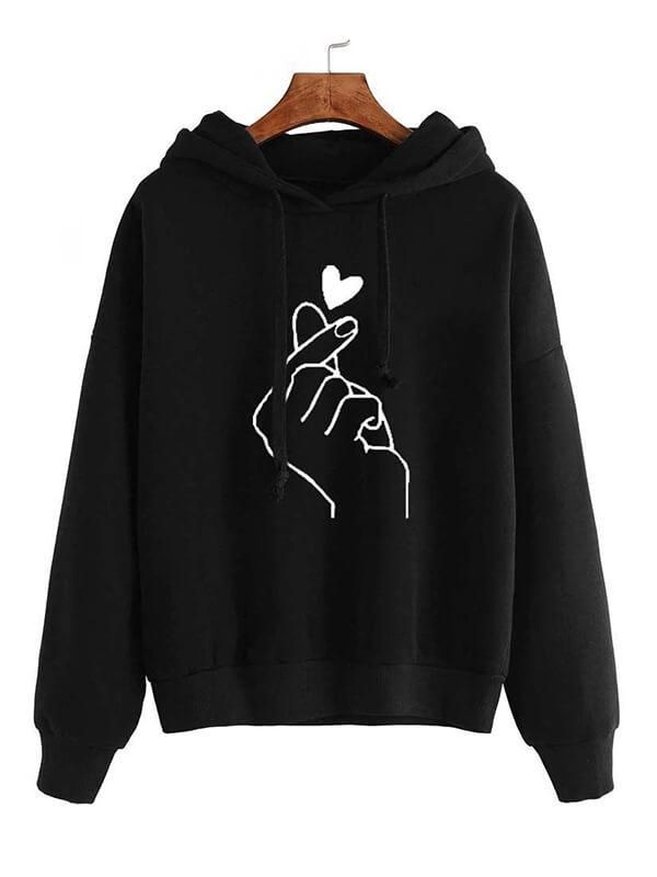 Women Sweatshirt And Hoody Ladies Hooded Love Printed Casual Pullovers Girls Long Sleeve Spring Autumn Winter Striped Plus Size 3