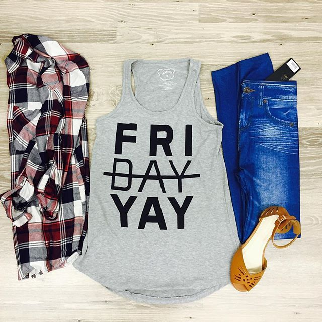 Have the Monday blues? Indulge yourself with this #graphictank $22. Available  in small-large. Plaid #wine #flannel $30.#fall #fallcollection
